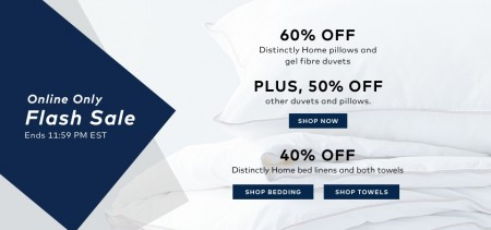 TheBay.com Flash Sale - 60 Off Distinctly Home Pillows and Duvets, 40 Off Bed Linens and Bath Towels (June 10)