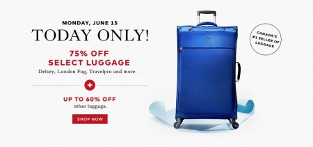 TheBay.com Today Only - 75 Off Select Luggage, Up to 60 Off Other Luggage (June 15)