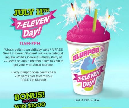 7-Eleven FREE Slurpee Day (July 11, 11am-7pm) 1
