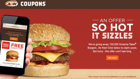 A&W Canada FREE Sriracha Teen Burger!