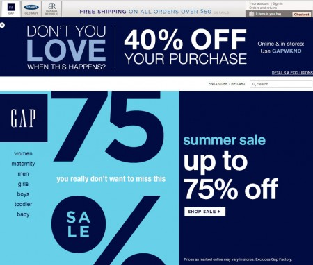 GAP 40 Off Your Entire Purchase Promo Code (July 18-19)