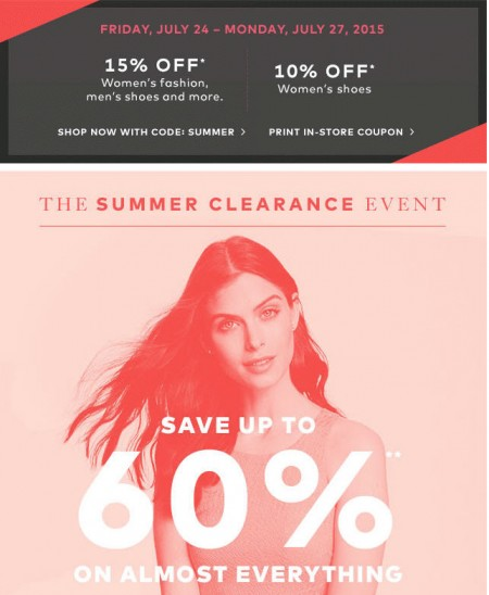 Hudson's Bay Summer Clearance Event - Save up to 60 Off + Extra 15 Off Promo Code (July 24-27)