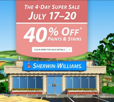 Sherwin-Williams 4-Day Super Sale - 40 Off Paints and Stains + $10 Off $50 Purchase Coupon (July 17-20)