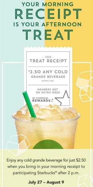 Starbucks Treat Receipt - Bring Back Morning Receipt, Get a Grande Beverage for $2.50 (July 27 - Aug 9)