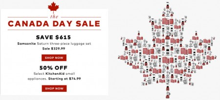 TheBay Canada Day Flash Sale - 65 Off Samsonite 3-Piece Luggage Set, 50 Off KitchenAid Small Appliances (July 1)