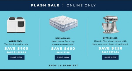 TheBay Flash Sale - $900 Off Whirlpool Laundry, $600 Off Springwall Mattress Set, and $250 Off KitchenAid Mixer (July 22)