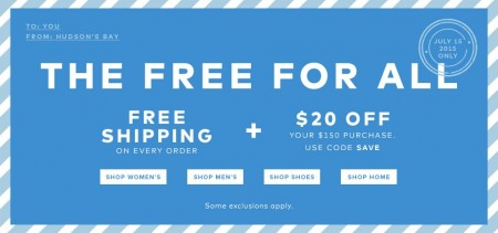 TheBay Flash Sale - Free Shipping on All Orders + $20 Off $150 Purchase (July 15)