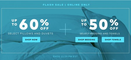 TheBay Flash Sale - Up to 60 Off Pillows and Duvets, Up to 50 Off Beddngad Towels (July 14)
