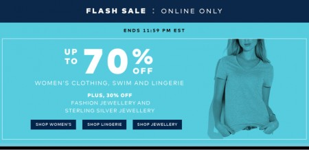 TheBay Flash Sale -  Up to 70 Off Women's Clothing, Swim and Lingerie (July 29)