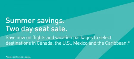 WestJet Summer Savings - Two Day Seat Sale (July 28-29)
