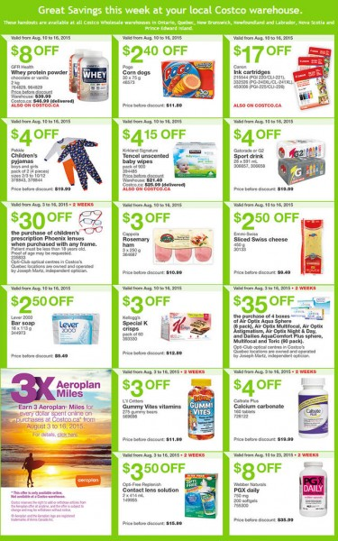 Costco Weekly Handout Instant Savings Coupons East (Aug 10-16)