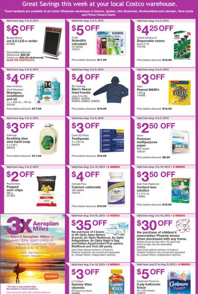 Costco Weekly Handout Instant Savings Coupons East (Aug 3-9)