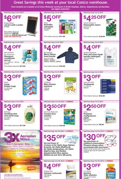 Costco Weekly Handout Instant Savings Coupons West (Aug 3-9)