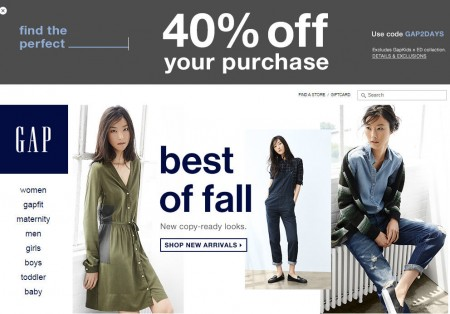 GAP Save 40 Off Your Purchase (Aug 25-26)