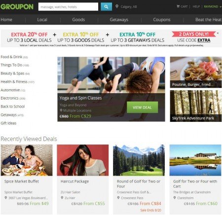 GROUPON Extra 20 Off Promo Code, Up to 3 Local Deals (Aug 17-