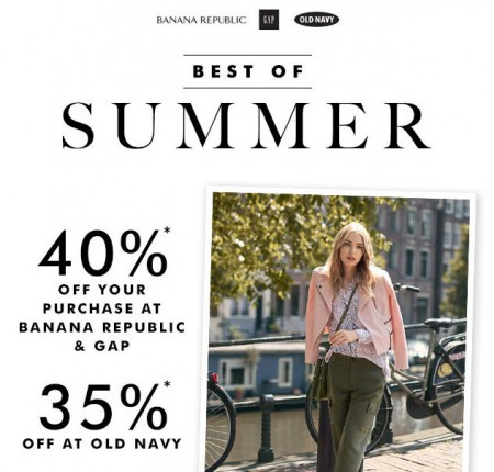 Gap & Banana Republic 40 Off Entire Purchase, and 35 Off at Old Navy (Aug 16-17)