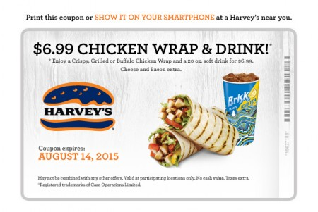 Harvey's Printable Coupon - $6.99 for a Chicken Wrap and Drink (Until Aug 14)