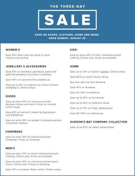 Hudson's Bay The Three-Day Sale (Aug 28-30) B