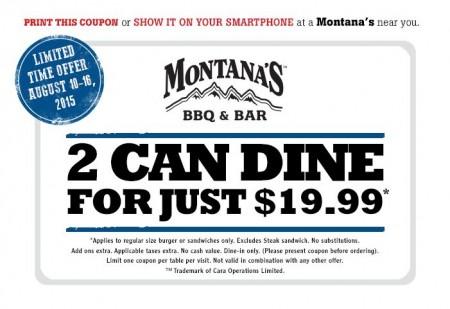 Montana's BBQ and Bar 2 Can Dine for $19.99 Coupon (Aug 10-16)