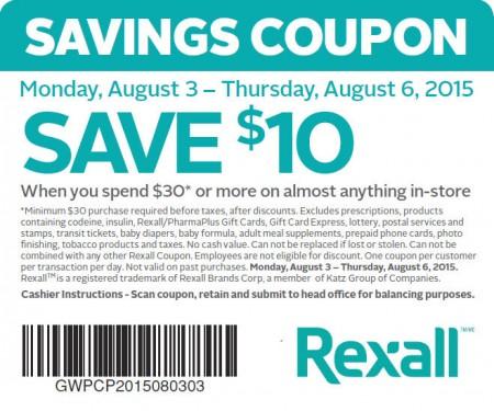 Rexal $10 Off When you Spend $30 Coupon (Aug 3-6)