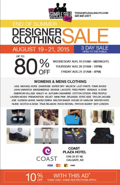 The Sample Sale Guys Designer Clothing Sale - Up to 80 Off + Extra 10 Off Coupon (Aug 19-21)