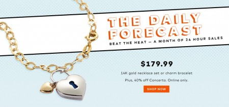 TheBay Today Only - $179.99 for 14K Gold Necklace Set or Charm Bracelet (Aug 6)
