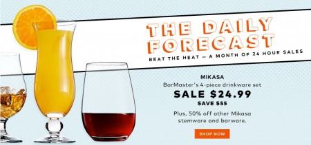 TheBay.com Today Only - $24.99 for Mikasa BarMaster`s 4-Piece Drinkware Set - Save $55 (Aug 25)