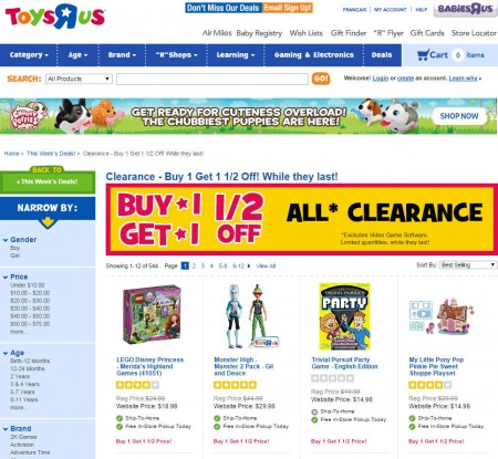 Toys R Us Buy 1 Get 1 50 Off All Clearence Products (Aug 28-30)