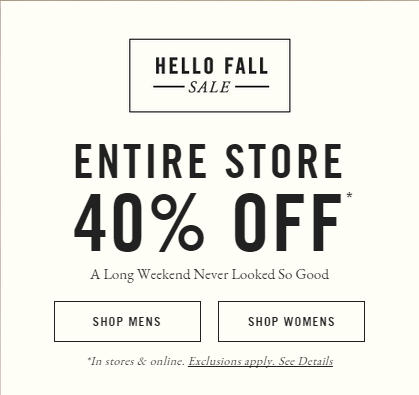 Abercrombie & Fitch 40 Off Entire Store and Online (Sept 3-7)