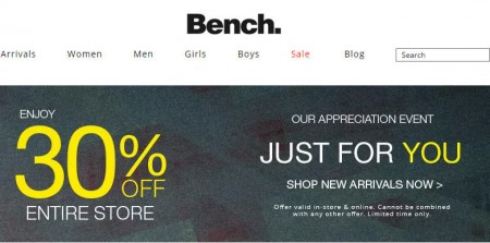 Bench Customer Appreciation Sale - 30 Off Sitewide (Sept 11-13)