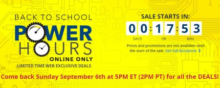 Best Buy Back to School Power Hours Online-Only Sale (Sept 6)