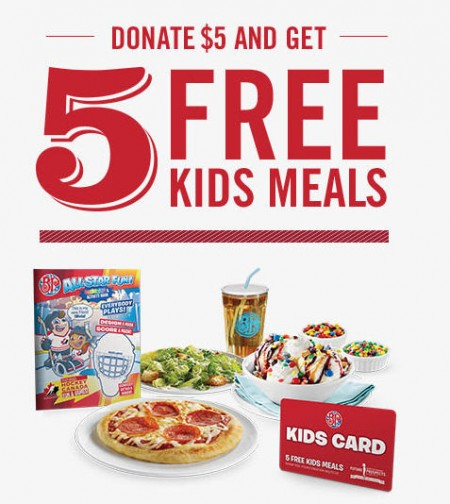 Boston Pizza 5 FREE Kids Meals with $5 Donation