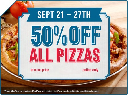 Dominos Pizza 50 Off All Pizzas (Sept 21-27)