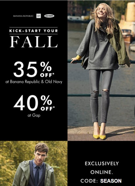Gap 40 Off Entire Purchase; and 35 Off at Banana Republic & Old Navy (Sept 22-23)