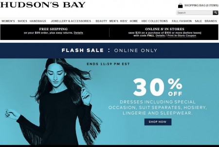 Hudson's Bay Flash Sale - 30 Off Dresses, Suit Separates, Hosiery, Lingerie and Sleepwear (Sept 16)