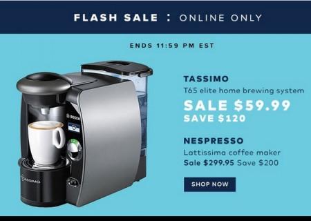 Hudson's Bay Flash Sale - $59.99 for Tassimo T65 Elite Home Brewing System - Save $120 (Sept 30)