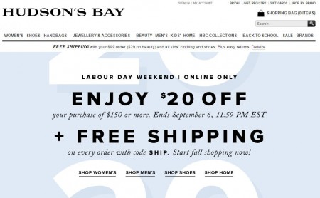 Hudson's Bay Free Shipping All Orders + $20 Off Purchase of $150 (Sept 4-6)