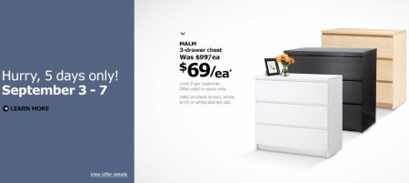 IKEA $69 for 3-Drawer Chest - Was $97 (Sept 3-7)