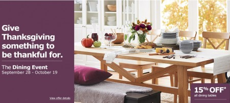 IKEA The Dining Event - 15 Off All Dining Tables (Sept 28 - Oct 19)