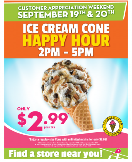 Marble Slab Creamery Customer Appreciation - $2.99 Ice Cream Happy Hour from 2-5pm (Sept 19-20)