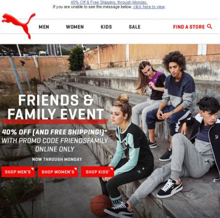 PUMA Friends & Family Sale - 40 Off + Free Shipping Promo Code (Sept 17-21)