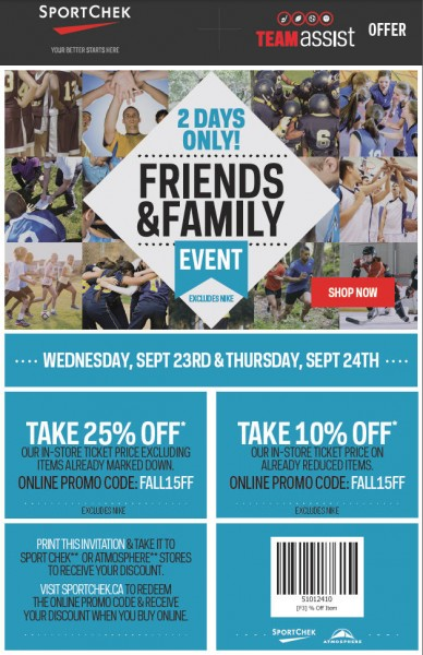 Sport Chek Friends & Family Event - 25 Off Regular Priced Items, 10 Off Sale Items (Sept 23-24)
