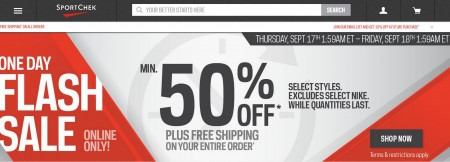 Sport Chek One-Day Flash Sale - Minimun 50 Off + Free Shipping on All Orders (Sept 17)