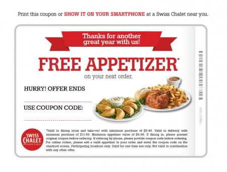 image relating to Sport Chalet Printable Coupon identified as Swiss Chalet: No cost Appetizer Coupon (Right up until Sept 30