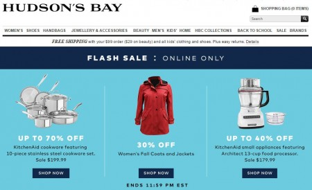 TheBay.com Flash Sale - 30 Off Women's Fall Jackets, and Up to 70 Off KitchenAid (Sept 2)