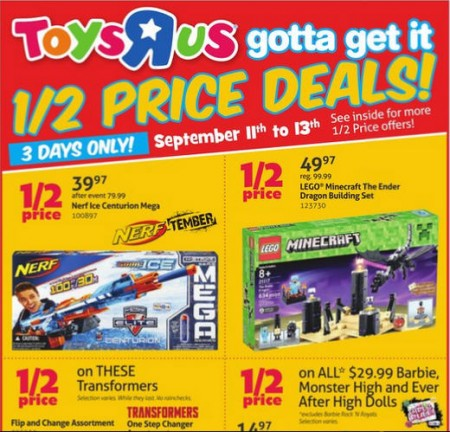 Toys R Us Half Price Deals (Sept 11-13)