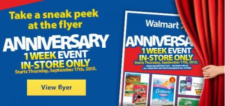 Walmart Anniversary Event - Sneak Peek Flyer (Sept 17-24)