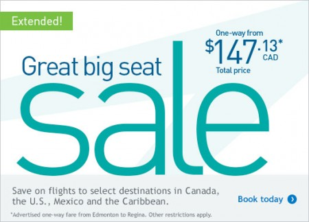 WestJet Great Big Seat Sale Extended (Book by Sept 13)