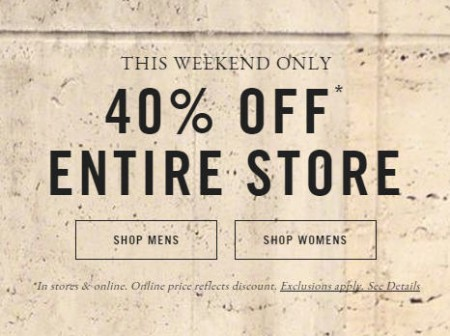 Abercrombie & Fitch 40 Off Entire Store and Online (Oct 8-12)