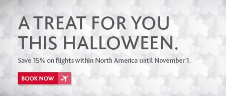 Air Canada Halloween Seat Sale - 15 Off Flights within North America (Book by Nov 1)